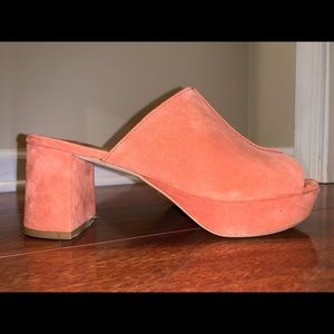FREE PEOPLE Salmon Suede Slip on Mules